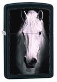 Зажигалка ZIPPO Белая лошадь, латунь с покрытием Black Matte, чёрная, матовая, 36x12x56 мм - купить в интернет магазине