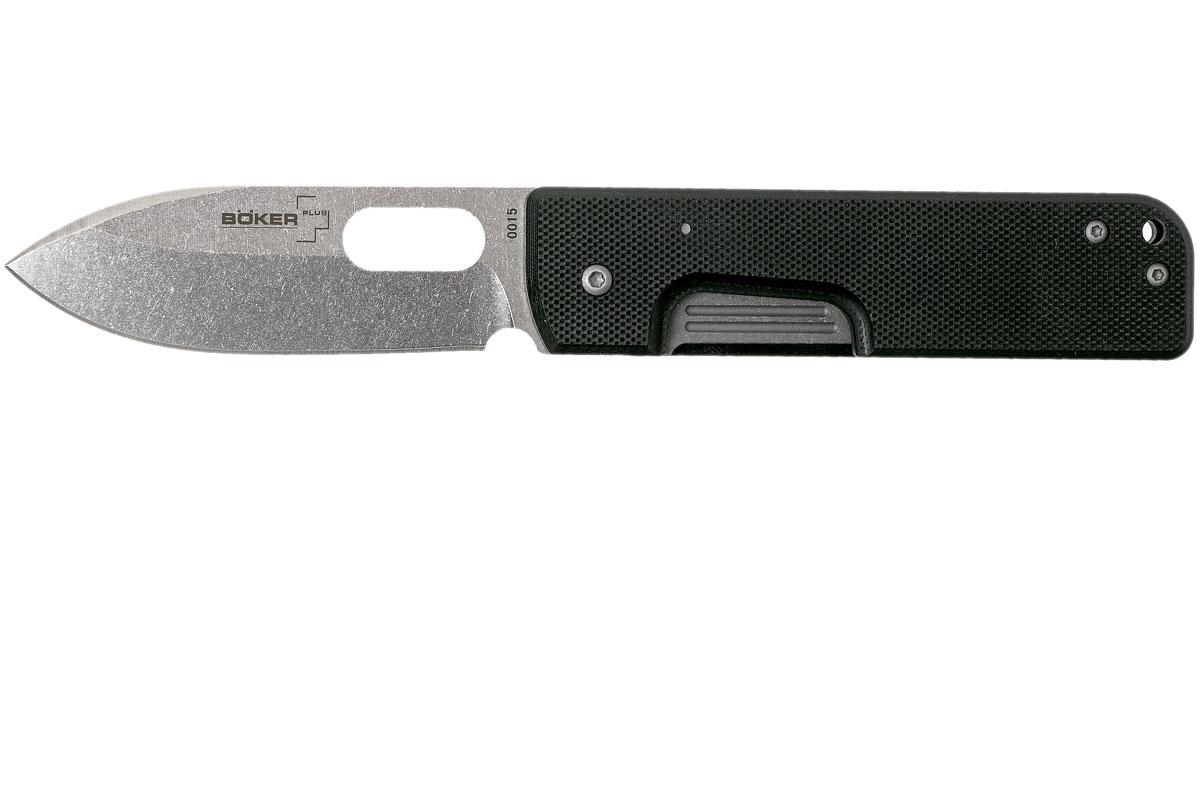 Фото 7 - Нож складной Boker Plus Lancer Black, сталь 440C Stonewash Plain, рукоять стеклотекстолит G10, чёрный, Boker 01BO068