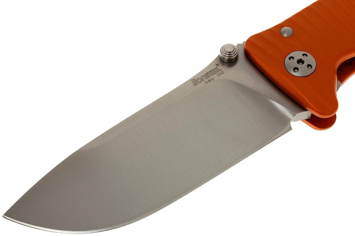 Фото 12 - Нож складной LionSteel SR1A OS ORANGE, сталь D2 Satin Finish, рукоять алюминий (Solid®), оранжевый от Lion Steel