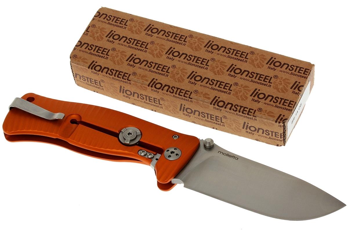 Фото 9 - Нож складной LionSteel SR1A OS ORANGE, сталь D2 Satin Finish, рукоять алюминий (Solid®), оранжевый от Lion Steel