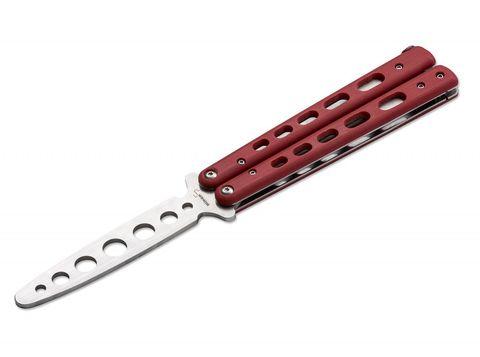 Тренировочный нож-бабочка (балисонг) Balisong Trainer, Boker Plus 01BO712, клинок из нержавеющей стали Zero-ground Plain (без заточки), рукоять стеклотекстолит G10, красный