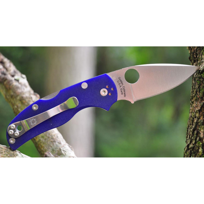 Фото 9 - Нож складной Native 5 - Spyderco 41GPDBL5, сталь CPM® S110V Satin Plain, рукоять стеклотекстолит G-10, синий (Dark Blue)