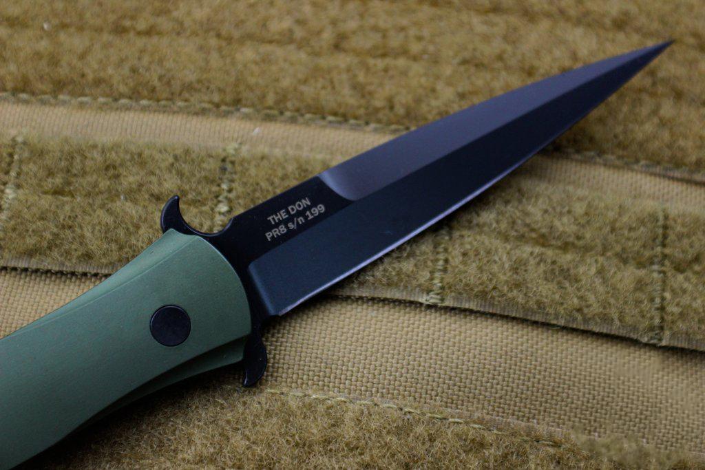 Фото 5 - Автоматический складной нож Pro-Tech 1721 The Don, сталь Black DLC Finish 154CM, рукоять алюминий, зеленый