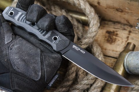 Тактический нож Echo D2 Black Titanium, Kizlyar Supreme - Nozhikov.ru
