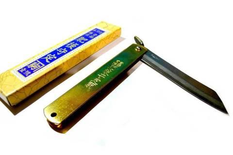 Нож складной Kanekoma Higonokami HKA-100Y, сталь Aogami, рукоять латунь. Вид 4