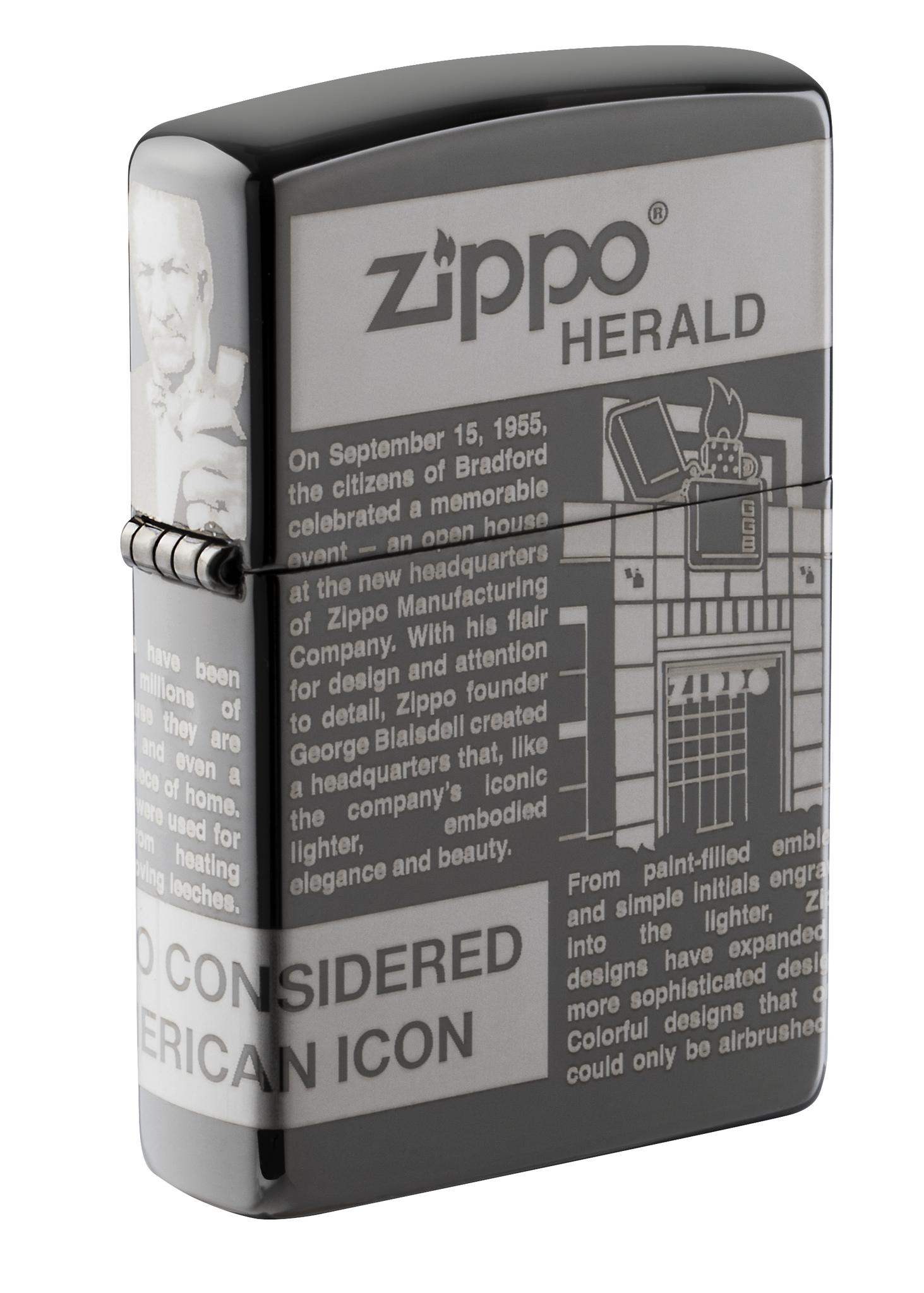 Зажигалка ZIPPO Classic Newsprint Design с покрытием Black Ice®, латунь/сталь, чёрная, глянцевая, 36х12х56 мм