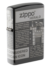 Зажигалка ZIPPO Classic Newsprint Design с покрытием Black Ice®, латунь/сталь, чёрная, глянцевая, 36х12х56 мм, фото 1