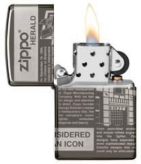 Зажигалка ZIPPO Classic Newsprint Design с покрытием Black Ice®, латунь/сталь, чёрная, глянцевая, 36х12х56 мм, фото 2