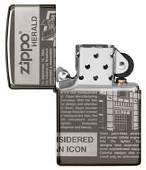 Зажигалка ZIPPO Classic Newsprint Design с покрытием Black Ice®, латунь/сталь, чёрная, глянцевая, 36х12х56 мм, фото 3