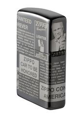 Зажигалка ZIPPO Classic Newsprint Design с покрытием Black Ice®, латунь/сталь, чёрная, глянцевая, 36х12х56 мм, фото 4