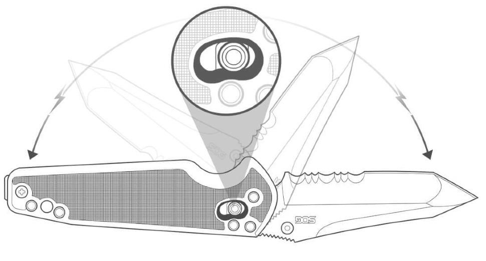 Фото 8 - Складной нож с фиксатором Pent Arc - SOG PE15, сталь VG-10, рукоять пластик GRN