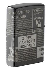 Зажигалка ZIPPO Classic Newsprint Design с покрытием Black Ice®, латунь/сталь, чёрная, глянцевая, 36х12х56 мм, фото 5