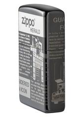 Зажигалка ZIPPO Classic Newsprint Design с покрытием Black Ice®, латунь/сталь, чёрная, глянцевая, 36х12х56 мм, фото 6
