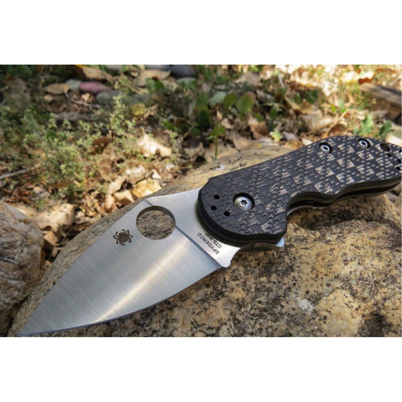 Фото 4 - Нож складной Dice - Spyderco C182CFTIP, сталь CTS® XHP Satin Plain, рукоять титан/стеклотекстолит G10/карбон, чёрный