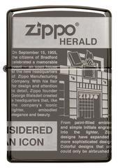 Зажигалка ZIPPO Classic Newsprint Design с покрытием Black Ice®, латунь/сталь, чёрная, глянцевая, 36х12х56 мм, фото 7