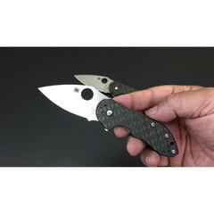Нож складной Dice - Spyderco C182CFTIP, сталь CTS® XHP Satin Plain, рукоять титан/стеклотекстолит G10/карбон, чёрный, фото 4