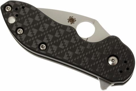 Нож складной Dice - Spyderco C182CFTIP, сталь CTS® XHP Satin Plain, рукоять титан/стеклотекстолит G10/карбон, чёрный. Вид 8