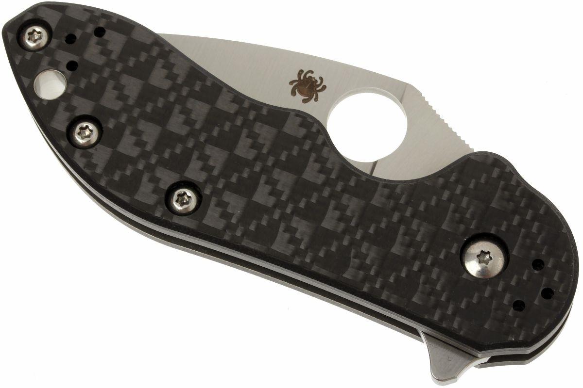 Фото 9 - Нож складной Dice - Spyderco C182CFTIP, сталь CTS® XHP Satin Plain, рукоять титан/стеклотекстолит G10/карбон, чёрный
