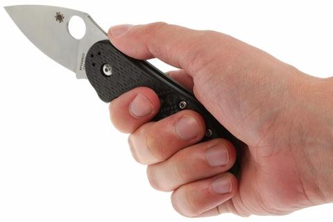Нож складной Dice - Spyderco C182CFTIP, сталь CTS® XHP Satin Plain, рукоять титан/стеклотекстолит G10/карбон, чёрный. Вид 12