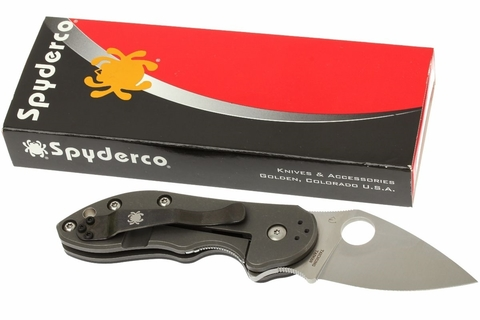 Нож складной Dice - Spyderco C182CFTIP, сталь CTS® XHP Satin Plain, рукоять титан/стеклотекстолит G10/карбон, чёрный. Вид 13