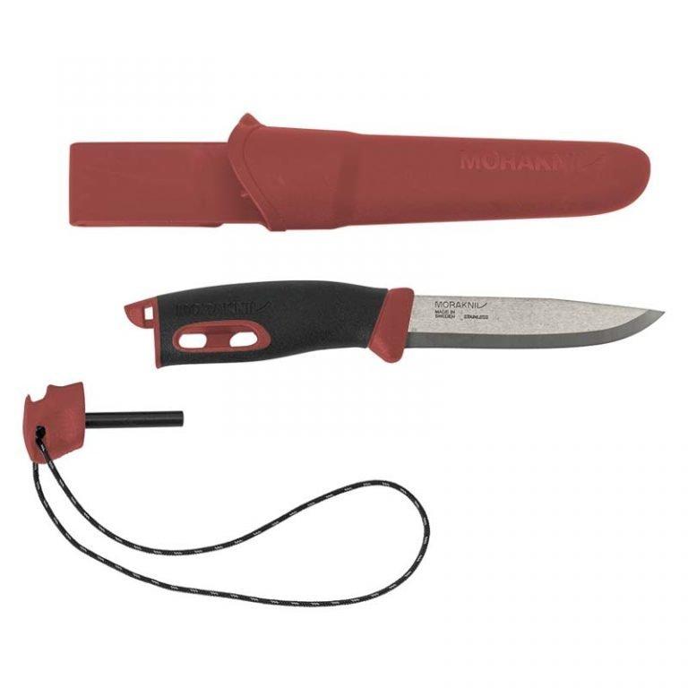 Нож с фиксированным лезвием Morakniv Companion Spark Black Red, сталь Sandvik 12C27, рукоять резина/пластик