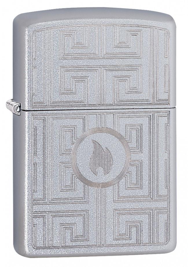 Зажигалка ZIPPO Labyrinth с покрытием Satin Chrome, латунь/сталь, серебристая, матовая, 36x12x56 мм цена
