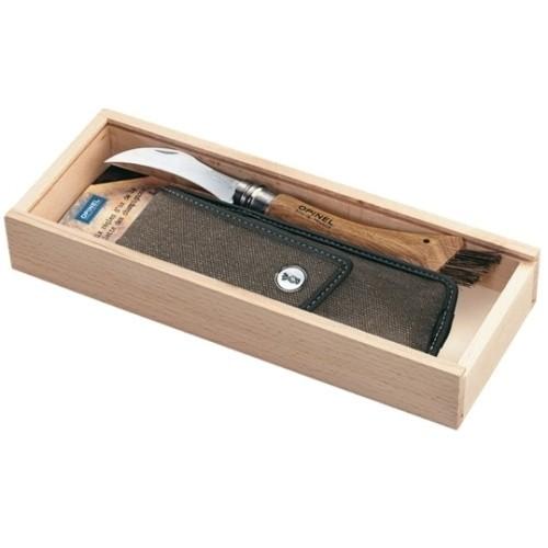 Нож грибника Opinel №8, нержавеющая сталь, рукоять дуб, чехол, деревянный футляр нож opinel gardening для грибников с щеточкой