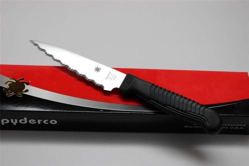 Фото 6 - Нож кухонный универсальный Spyderco Utility Knife K05SPBK, сталь MBS-26 Serrated 11.4 см, рукоять полипропилен, чёрный