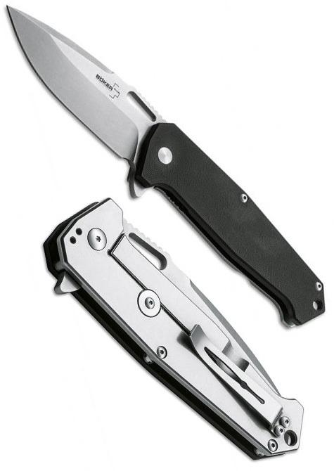 Фото 4 - Нож складной Jim Burke design Hitman - Boker Plus 01BO776, сталь D2 Stonewashed Plain, рукоять стеклотекстолит G-10/нержавеющая сталь