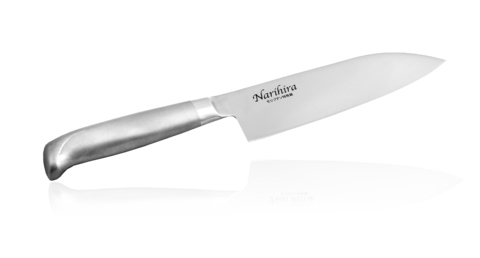 Нож Сантоку Narihira 170 мм, сталь AUS-8, стальная рукоять - Nozhikov.ru