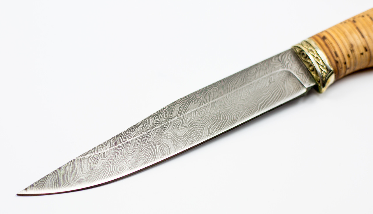 Фото 9 - Нож Анчар, сталь дамаск, рукоять береста от Кузница Семина