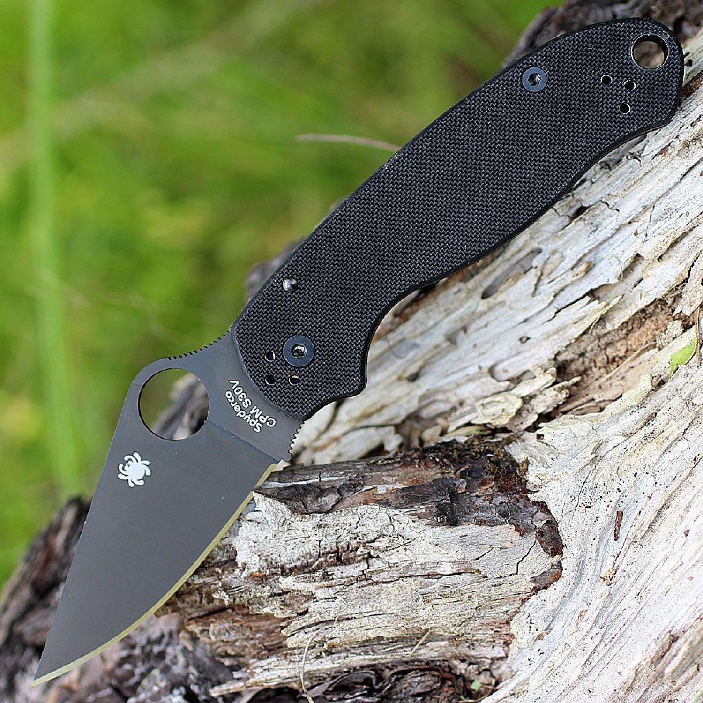 Фото 6 - Нож складной Para 3 - Spyderco 223GPBK, сталь CPM® S30V™ Black DLC Coated Plain, рукоять стеклотекстолит G10, чёрный