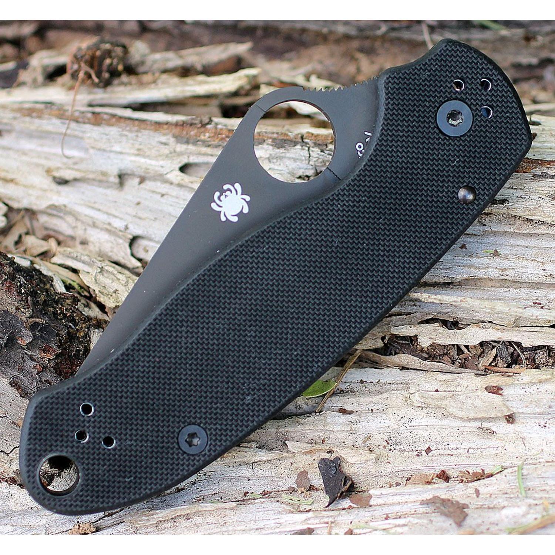 Фото 7 - Нож складной Para 3 - Spyderco 223GPBK, сталь CPM® S30V™ Black DLC Coated Plain, рукоять стеклотекстолит G10, чёрный