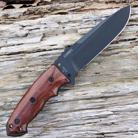 Нож с фиксированным клинком Hogue EX-F01, сталь A2 Tool Steel Black, рукоять дерево кокоболо. Вид 6
