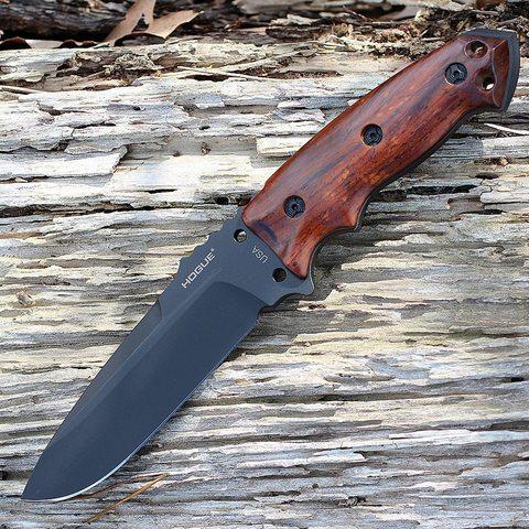 Нож с фиксированным клинком Hogue EX-F01, сталь A2 Tool Steel Black, рукоять дерево кокоболо. Вид 7