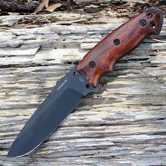 Нож с фиксированным клинком Hogue EX-F01, сталь A2 Tool Steel Black, рукоять дерево кокоболо, фото 7