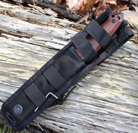Нож с фиксированным клинком Hogue EX-F01, сталь A2 Tool Steel Black, рукоять дерево кокоболо. Вид 8