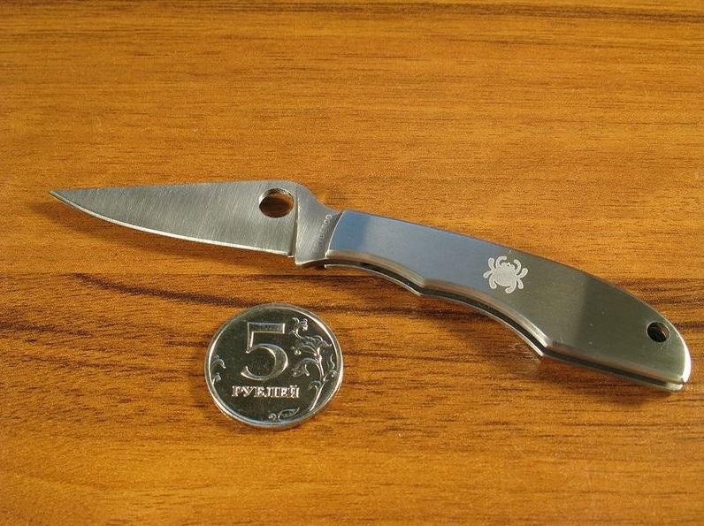 Фото 6 - Складной нож-брелок Grasshopper Spyderco C138P, сталь Sandvik™ 12C27, рукоять нержавеющая сталь