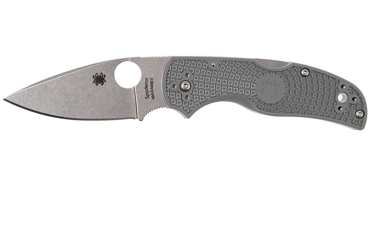 Фото 8 - Нож складной Native Spyderco 41PGY5, сталь Carpenter CTS™ - Maxamet® Micro-Melt® Alloy Satin Plain, рукоять термопластик FRN, серый