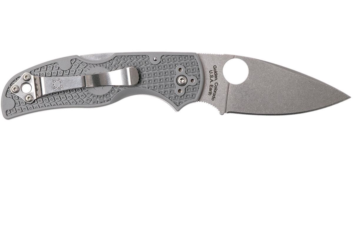 Фото 9 - Нож складной Native Spyderco 41PGY5, сталь Carpenter CTS™ - Maxamet® Micro-Melt® Alloy Satin Plain, рукоять термопластик FRN, серый