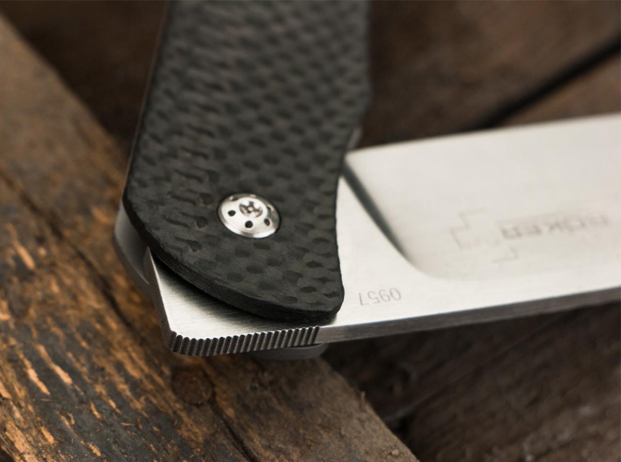 Фото 9 - Нож складной Exskelibur I Carbon Fiber, Titanium Frame Lock, сталь CPM-S35VN Satin Plain, рукоять карбон/титан, Boker Plus 01BO135