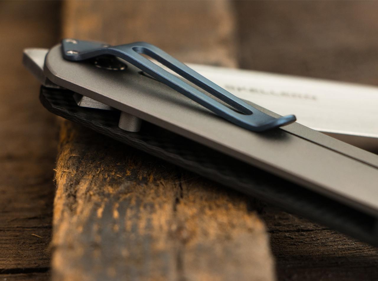Фото 10 - Нож складной Exskelibur I Carbon Fiber, Titanium Frame Lock, сталь CPM-S35VN Satin Plain, рукоять карбон/титан, Boker Plus 01BO135