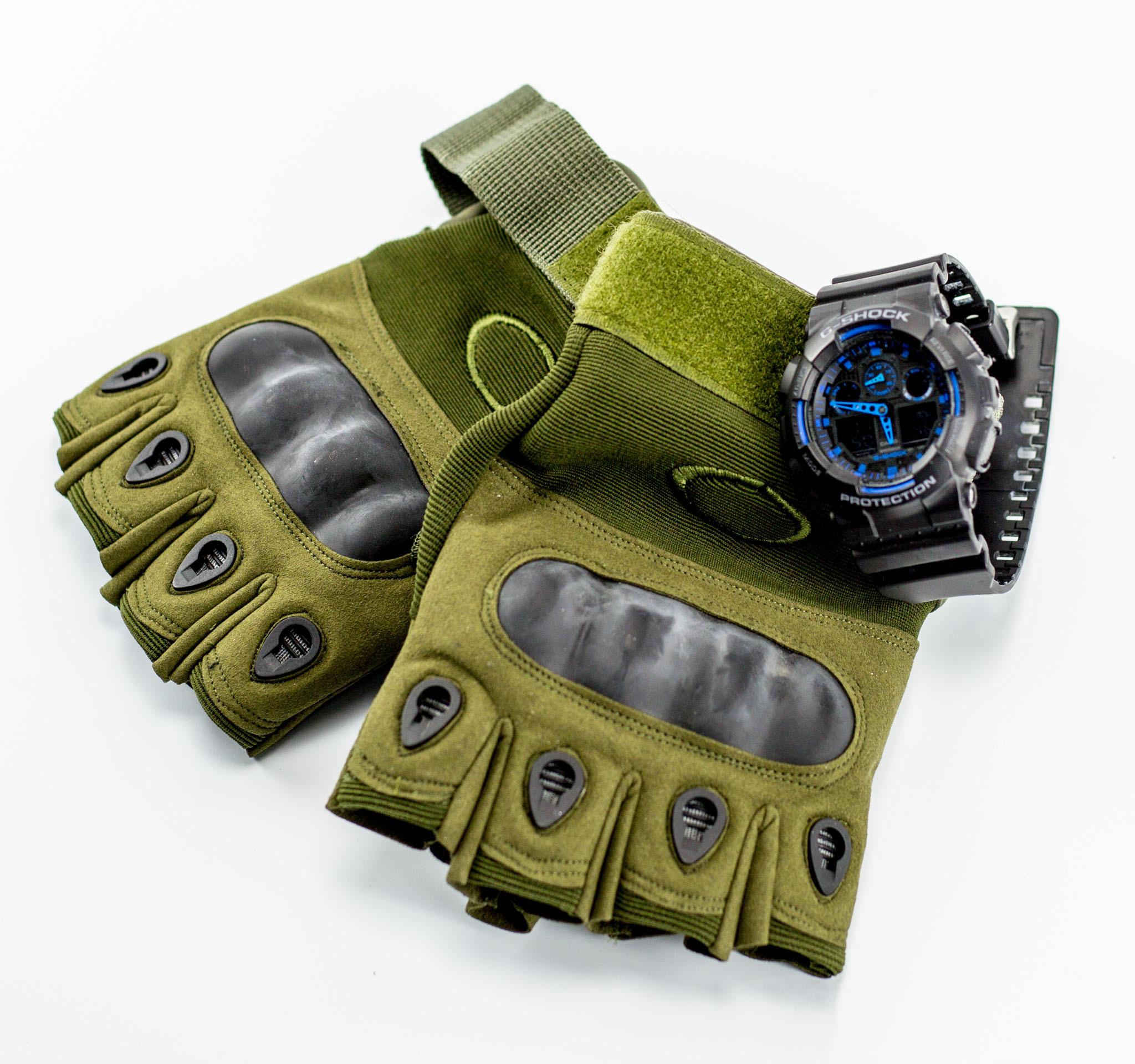 Тактические перчатки без пальцев, армейские , размер L