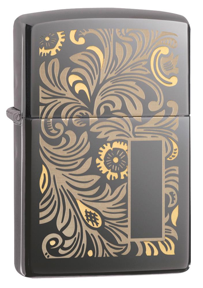 Зажигалка ZIPPO Luxury Venetian с покрытием Black Ice®, латунь/сталь, чёрная, глянцевая, 36х12х56 мм