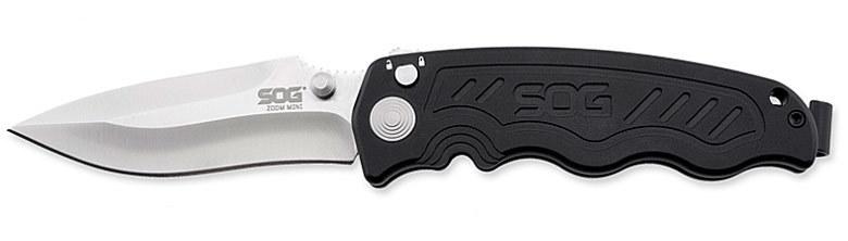 Фото 2 - Складной нож Zoom - SOG ZM1011, сталь лезвия AUS-8 Satin Polished, рукоять алюминий, чёрный