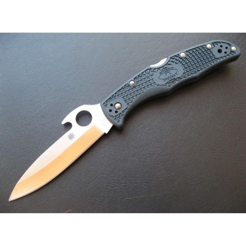 Фото 4 - Нож складной Endura Wave Emerson Opener Spyderco 10PGYW, сталь VG-10 Satin Plain, рукоять термопластик FRN, чёрный
