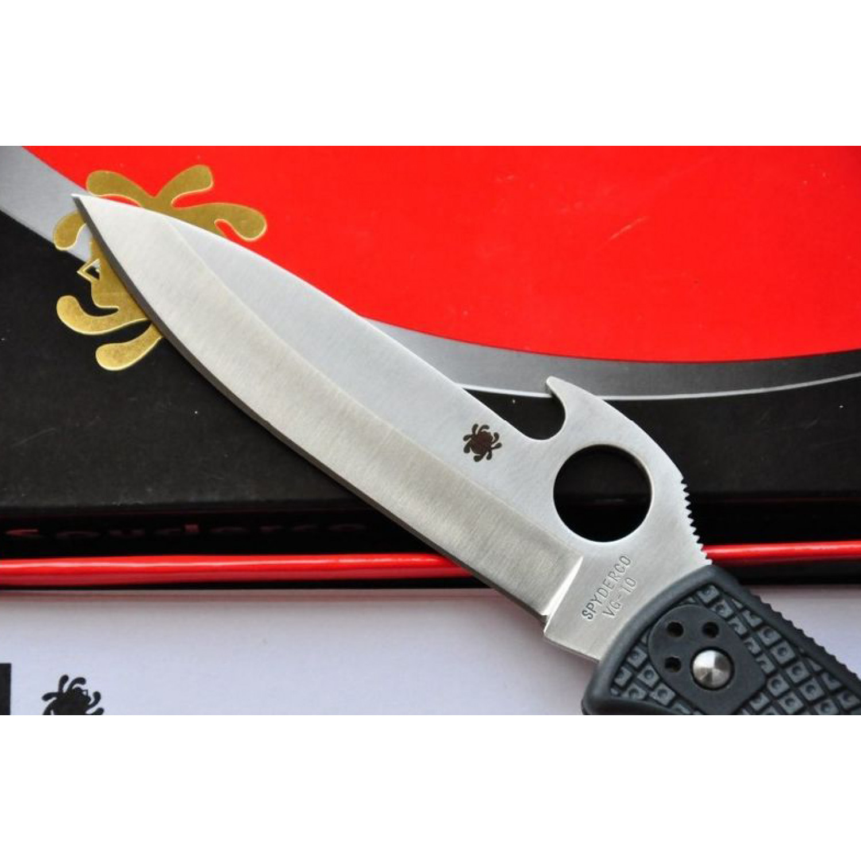Фото 6 - Нож складной Endura Wave Emerson Opener Spyderco 10PGYW, сталь VG-10 Satin Plain, рукоять термопластик FRN, чёрный