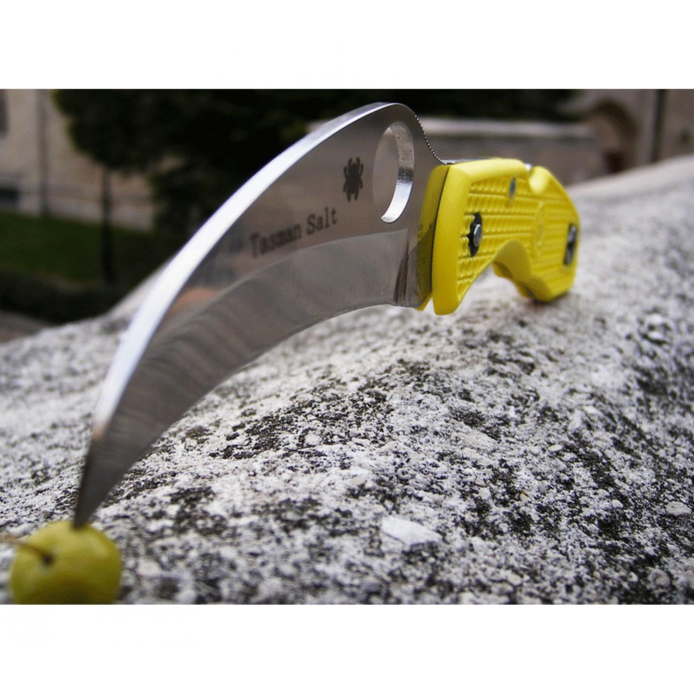 Фото 9 - Нож складной Tasman Salt™ Spyderco 106PYL, сталь H1 Satin Plain, рукоять термопластик FRN, жёлтый