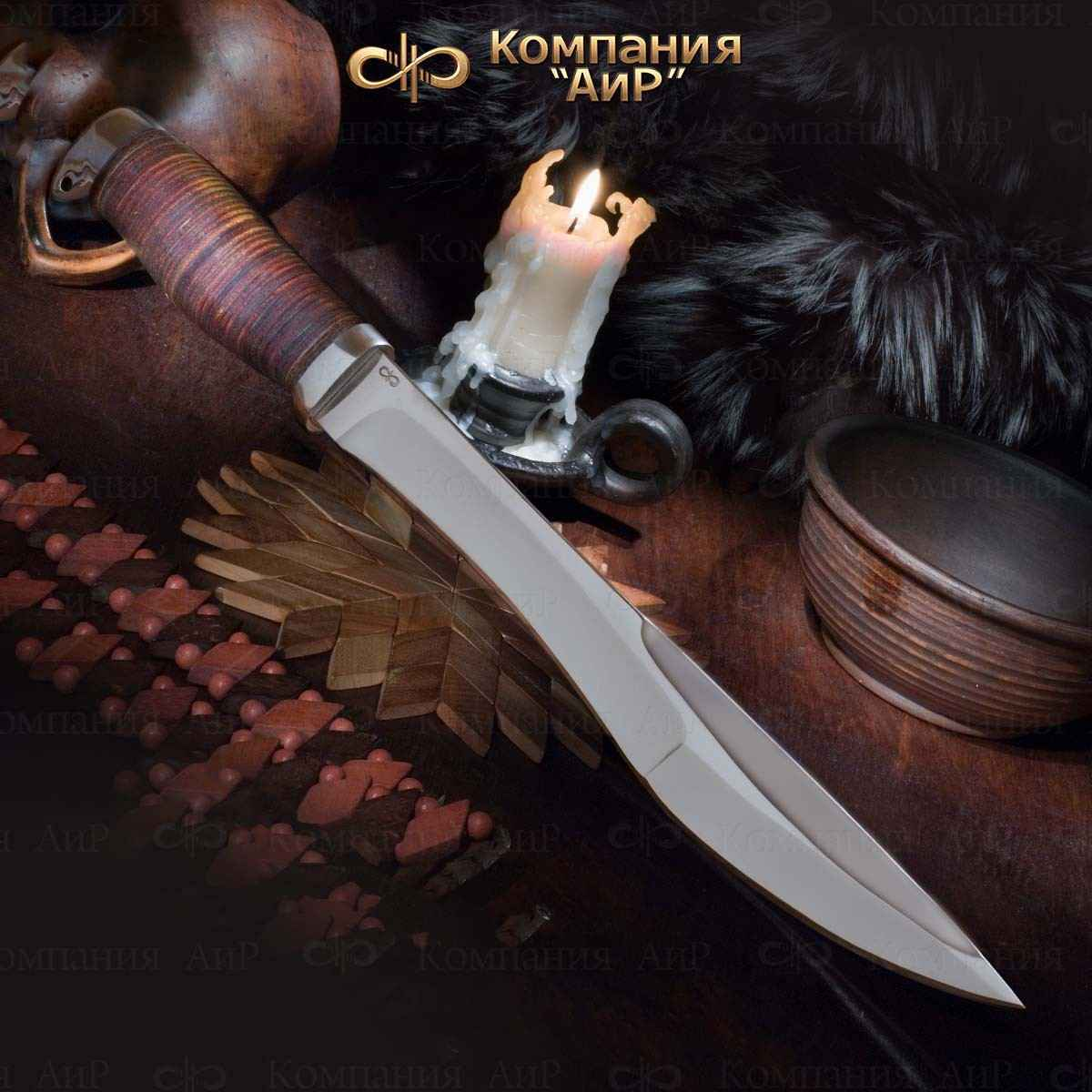Мачете туристический (разделочный) АиР Боярин, сталь 100х13м, рукоять кожа