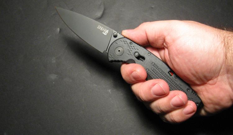 Фото 8 - Складной нож с фиксатором Aegis Black 8.9 см. - SOG AE02, сталь AUS-8, рукоять пластик GRN